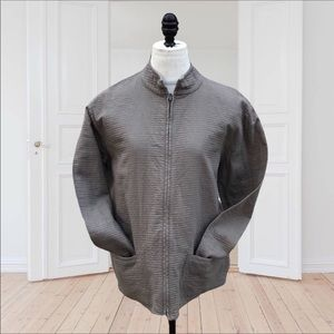 Eileen Fisher Taupe Casual Cotton Zip Up Jacket